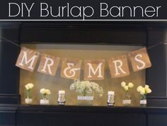 DIY Burlap Wedding Banner from Rustic Wedding Chic Burlap Banner Wedding, Diy Banner, Burlap Signs, Burlap Wedding Banners, Burlap Monogram, Fall Banner, Handmade Wedding, Diy Wedding, Wedding Trends