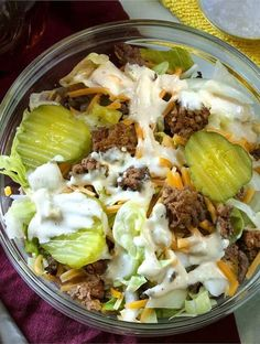 Keto Big Mac Salad & Low Carb Hamburger Salad If you're keto and are missing Big Macs, have I got the perfect Big Mac Salad and Big Mac Sauce recipe for you! Super easy and let me tell you–it tastes EXACTLY like the real thing. The post Keto Big Mac Salad Hamburger Salad Recipe, Low Carb Hamburger Recipes, Salad Recipes Low Carb, Keto Recipes, Healthy Recipes, Snacks Recipes, Keto Snacks, Dinner Recipes, Healthy Salads
