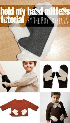 """Hold my hand"" mittens tutorial. I love this idea, so sweet! #diymittens #mittentutorial"