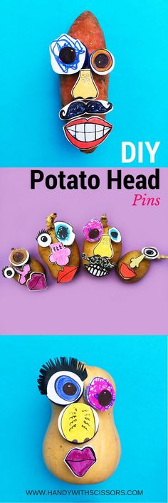 Use simple materials to create your own Potato Head Pins! Diy Projects For Kids, Diy For Kids, Craft Projects, Crafts For Kids, Arts And Crafts, Craft Ideas, Mr Potato Head, Potato Heads, Vegetable Crafts