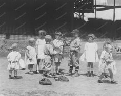 Very Young Children On Baseball Field 8x10 Reprint Of Old Photo
