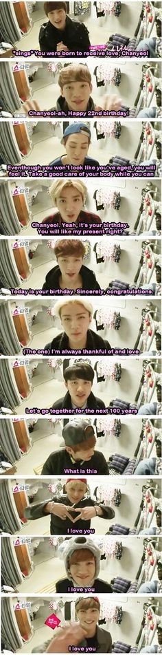 "EXO birthday greetings for chanyeol - ""what is this"" Haha"