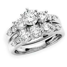The Perfect Retro Diamond Engagement Ring, Round Diamond Wedding Ring Set in 14k White Gold #Angara