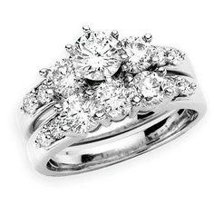 The Perfect Retro Diamond Engagement Ring, Round Diamond Wedding Ring Set in 14k White Gold #Angara