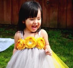 Grey n Yellow with Golden Yellow Flowers Girls Tutu Dress
