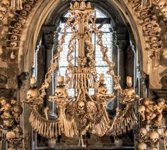 This Chandelier contains every bone in the Human Body. in Sedlec Ossuary, Czech Republic.