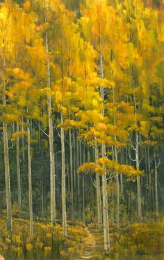 """""""Aspen Forest"""" - Original - 24x38  Brilliant gold invites us to take the path into the dark of the forest"""