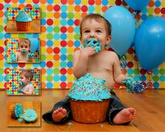 DIY Cake smash. Wrapping paper backdrop.  Although my kids are a little big for this now I couldn't but help to post this adorable collection of photo's my sister in law took of my nephew!  Yeah, the back drop is pretty cute too. :)