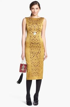 Yellow dress. Tory Burch 'Birdie' Cotton Blend Midi Dress available at #Nordstrom