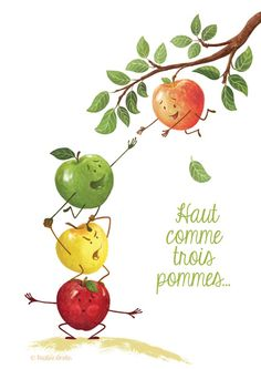 """ tall as three apples "" similar to the expression "" knee high to a grasshopper"" Illustratrice Pauline Amelin"