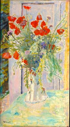 Poppies in a Vase - Pierre Bonnard