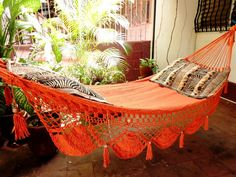 Orange Single Hammock handwoven Natural Cotton Special by hamanica, $49.00