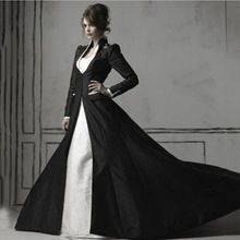 Medieval Mermaid Black And White Gothic Wedding Dress With Jacket Long Sleeve Cathedral Train Bridal Gowns Vestidos Noiva //Price: $US $173.47 & Up To 18% Cashback //     #gothic