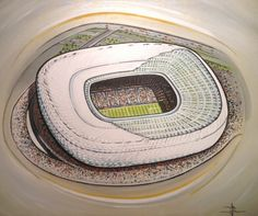 Allianz Arena home of Bayern Munich @ www.sportsstadiaart.co.uk