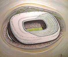Allianz Arena home of Bayern Munich @ www.sportsstadiaart.co.uk