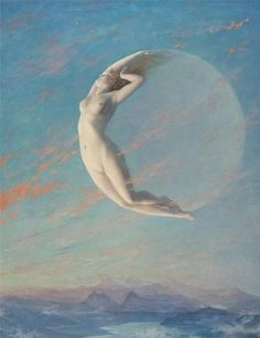 nicoun: New Moon by Albert Aublet (One of my favorite paintings.) The Moon! the great goddess of the splendid past of men! Are you going to tell me she is a dead lump? Art And Illustration, Moon Goddess, Goddess Pagan, Triple Goddess, Goddess Art, A4 Poster, Moon Art, Moon Moon, Moon Rise