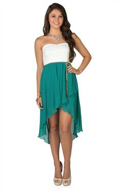 Deb Shops Strapless Bodice #Gold Braided Belt Chiffon High Low #dress  $32.90