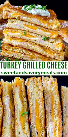 Turkey Grilled Cheese made easy to cook in a large batch using crescent dough sheets. #turkey #leftover #grilledcheese #turkeygrilledcheese #30minutesmeals