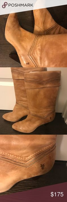 Frye Simone cuff boots sz 9 1:2 Beautiful camel leather and dark wood heels make these Frye boots really stunning,  worn probably 5 times, they were purchased from the Lemon Peel shoe boutique in Spartanburg, SC in 2006.  I don't have room for these boots in my closet and I'm ready for a change, Frye Shoes Heeled Boots