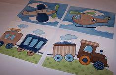 Transportation children's wall art kids baby nursery by terezief, $20.00