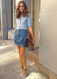 olivia+palermo+saia+camisa+jeans+street+style