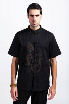 Free Shipping ! Summer Black Tradition Chinese Men's Cotton Linen Embroider Dragon Kung-Fu Shirt Letter M L XL XXL XXXL M16