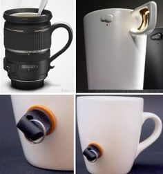 11 More Creative Coffee and Tea Mug Designs - love the plug one, no one can use your mug: the plug comes out and leaves a big hole until you want to use it. and the gun mugs are AWESOME!