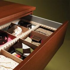 Drawer Dividers - Organize drawers with simple dividers. Use off-the-shelf trim to custom make a system to fit any drawer in an hour. Diy Drawer Dividers, Diy Drawer Organizer, Drawer Organisers, Closet Dividers, Drawer Storage, Junk Drawer, Kitchen Organization, Organization Hacks, Bedroom Organization