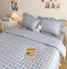 Blue Plaid Cotton Bedding Duvet Set with Ruffle Edge Queen Twin King S – PeachyBaby Room Ideas Bedroom, Bedroom Decor, Korean Bedroom Ideas, Bedroom Inspo, Pastel Bedroom, Pastel Room Decor, Duvet Bedding Sets, Cotton Bedding, Twin Bed Comforter