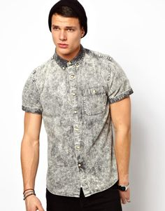 ASOS Denim Shirt in Short Sleeve with Black Acid Wash