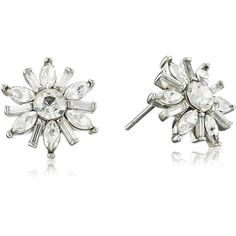 Carolee Crystal Basics The Brianna Deco Floral Button Pierced Stud... ($35) ❤ liked on Polyvore featuring jewelry, earrings, stud earrings, art deco stud earrings, studded jewelry, carolee earrings and baguette earrings