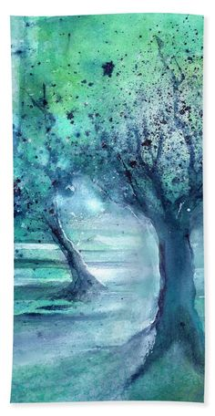 Olive Trees in Moolight Bath Towel for Sale by Sabina Von Arx Green Bathroom Decor, Bath Sheets, Olive Tree, Bath Towels, Green Colors, Water, Prints, Painting, Outdoor