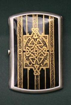 Vintage Art Deco sterling silver enamel compact case