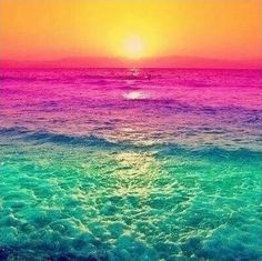"""Sunset with the water's colours altered. It seems like it was simply done using a photo-editing program or something but still it looks neat. It definitely adds a different """"definition"""" to it than it would a regular sunset. Nature Wallpaper, Wallpaper Backgrounds, Galaxy Wallpaper, Summer Wallpaper, Mobile Wallpaper, Colorful Backgrounds, Waves Wallpaper, Rainbow Wallpaper, Trendy Wallpaper"""
