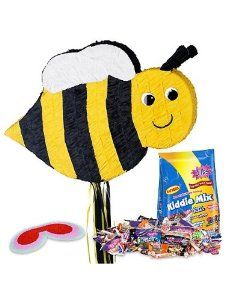 Bumble Bee Pinata Kit by COSTUME SUPERCENTER. $21.83. Bring a delightful touch of whimsy to any party or a festive touch to a bumble bee themed birthday party with this Bumble Bee Pinata Kit! The kit includes everything you might need to have a cute bumble bee pinata at the party! It comes complete with the ribbon pull bee pinata in yellow, black, and white, the red blindfold that will keep the contestants honest, and a giant three pound bag of Kiddie Mix, which featur...