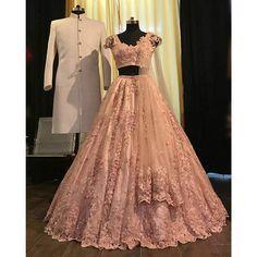 light pink floral embroidered bridal lehenga indian pakistani bridal lehenga choli dupatta cream sherwani set - Source by rashmaseeram - Indian Wedding Gowns, Indian Gowns Dresses, Indian Bridal Outfits, Indian Fashion Dresses, Indian Bridal Fashion, Dress Indian Style, Indian Designer Outfits, Designer Dresses, Punjabi Wedding