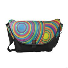 Retro Rainbow Circles Pattern Courier Bag $96.70