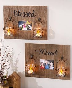 Display a picture that fits the word inscribed on this Sentiment Photo Frame with LED Jar Lanterns. A rustic, wood-grained frame holds a x photo in t Fireflies In A Jar, Jar Art, Jar Lanterns, Led Tea Lights, Flameless Candles, Home Decor Signs, Jar Crafts, Diy Frame, Living Room Sets