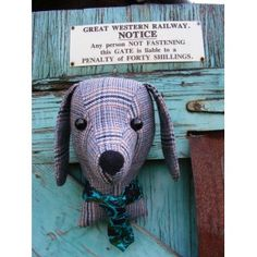 Faux taxidermy, stuffed animal head, fake taxidermy , shabby chic, country house, Dog trophy head. Vintage tweed.