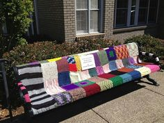 Bench in front of a senior center