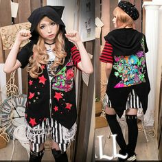 Black and Red Stripe Short Sleeve Graphic Gothic Emo Hoodies Jackets SKU-11401640