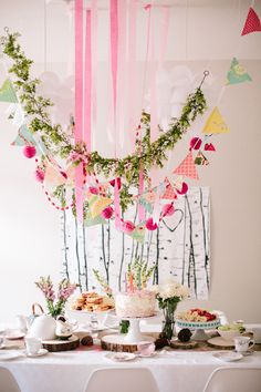 Woodland Fairy Tea Party / would be the clusters little girl birthday party / or fabulous decor for a wedding shower Fairy Birthday Party, First Birthday Parties, Kid Parties, 5th Birthday, Birthday Ideas, Lila Party, Decoration Buffet, Fairy Tea Parties, Woodland Party