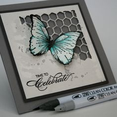 Clean Color, Zig Clean color Real brush marker, card, Tim Holtz, butterflies