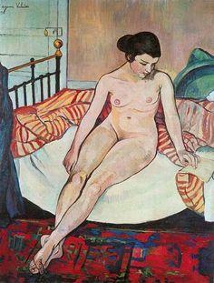 Suzanne Valadon, 1922, Naakt met een gestreepte deken, Musée d'Art Moderne de la Ville de Paris