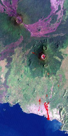 Nyiragongo (upper left). Extensive lava flows reaching 25 km southwest to Lake Kivu.