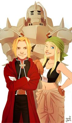 Ed, Al and Winry by jazzleberrys-art