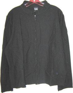 EILEEN FISHER zipper front jacket black cardigan boxy sweater MADE in USA XL #EileenFisher #BasicJacket