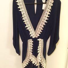 Crochet Romper Dark blue crochet detailed romper - Never worn. 100% rayon ANGL Pants Jumpsuits & Rompers