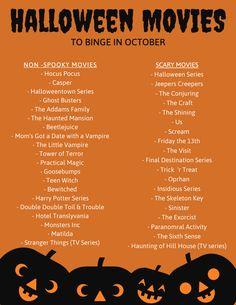 Classic Halloween Movies, Halloween Movies List, Halloween Movie Night, Halloween Music, Halloween Series, Movie Night Party, Halloween Town, Holiday Movies, Scary Movie List