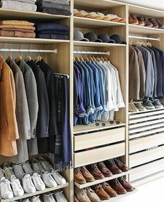Guide To Capsule Wardrobe - Build A Perfect Capsule Wardrobe For Men Build A Wardrobe You Love. Learn How To Build A Timeless Capsule Wardrobe.Build A Wardrobe You Love. Learn How To Build A Timeless Capsule Wardrobe. Walk In Closet Design, Bedroom Closet Design, Master Bedroom Closet, Closet Designs, Men Closet, Wardrobe Closet, Closet Space, Closet Doors, Small Closets